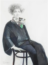 portrait of dodie rosekrans with green brooch by elaine badgley arnoux