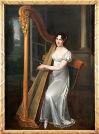 portrait de joséphine fridrix (ulyana miklailova alexandrova) à la harpe by henri françois riesener