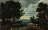 landscape with peasants and animals by jacques d' arthois