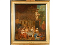 a classical scene of figures dining by frans breydel