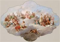 gli dei olimpici sul parnasso, bozzetto per un dipinto di soffitto by tito agujari