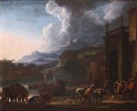 l'entrée d'une ville portuaire animée de nombreux personnages by jan asselijn
