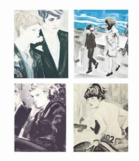 four prints by the artist by elizabeth peyton