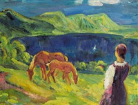 landschaft mit weidenden pferden by sepp orgler