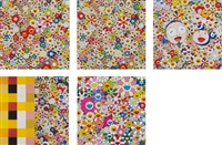 flowers in heaven; field of smiling flowers; me and mr. dob; acupuncture/flower (checkers); and flower smile (5 works) by takashi murakami