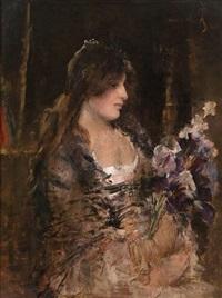 portrait d'une fille au bouquet de fleurs by alfred stevens