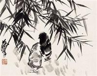 墨竹雏鸡 by huang zhou