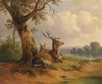 ruhendes rotwild by joseph heicke