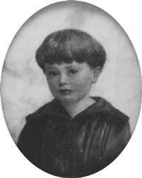 a young boy, in brown tunic with cord laced front by enid marjorie vale