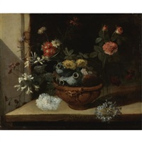 still life with various flowers and a ceramic vase balanced in a clay pot resting on a stone ledge (possibly one of a series of months) by niccolino van houbraken