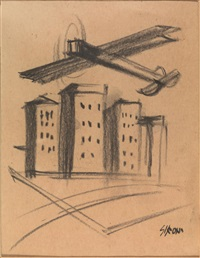 aereo sulla città by mario sironi