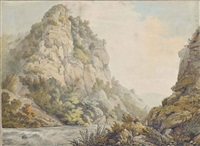 a rocky river landscape (+ a river in spate running through a gorge; pair) by william day
