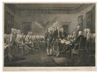 the declaration of independence of the united states of america. july 4th by john trumbull