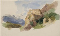 a mountain landscape with a ruin of a castle by heinrich woldemar rau