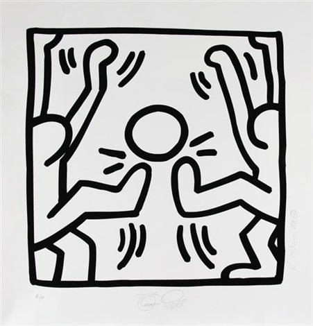 untitled soccer pele come dois jugadores by keith haring
