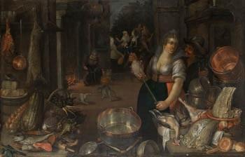 bodegón de cocina con personajes by cornelis jacobsz delff