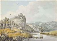 view at cromford, derbyshire, taken from the bridge by william day