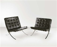 coppia di poltrone barcelona by ludwig mies van der rohe