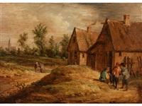 drei männer im gespräch sowie bauernpaar am dorfrand by david teniers the younger
