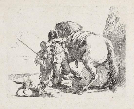 il cavaliere vicino al suo cavallo from vari capricci by giovanni battista tiepolo
