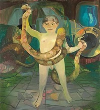 boy with boa by dana schutz