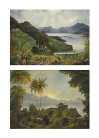 cruz bay; cinnamon bay, danish west indies (u.s. virgin islands) (2 works) by fritz siegfried george melbye