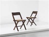 library chairs, model no. pj-si-51-a, designed for the high court and punjab university, chandigarh (pair) by pierre jeanneret