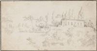 a villa amongst trees (recto); studies of a sculpted head and a classical rotonda (verso ) by jacob de heusch