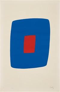 dark blue with red (bleu foncé avec rouge) (from suite of twenty-seven color lithographs) by ellsworth kelly