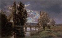 the old bridge, touraine by alexandre-charles-joseph gittard