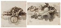 mars et venus, projet de cul de lampe; léda, projet de cul de lampe (2 works) by augustin de saint-aubin