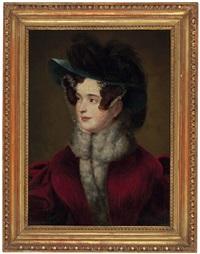umkreisporträt einer jungen dame mit hut by friedrich von amerling