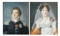 portrait du maréchal louis-alexandre berthier et de son epouse marie-elisabeth von wittelsbach (pair) by joseph boze
