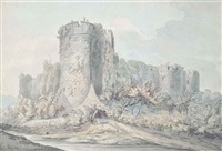 ruined castle viewed from below (+ ruins beside a river; pair) by william day