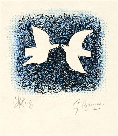 couple d'oiseaux. - la rapace, pl. 7 & 18 (2 works from lettera amorosa) by georges braque