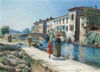 spaziergänger an einem kanal im veneto by ferdinand kruis