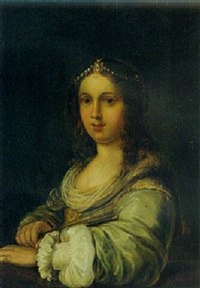 portrait of a young lady wearing a pearl headdress, holding a fan by johann spilberg the younger