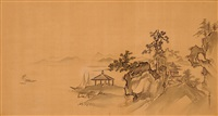 monastery on a rocky seashore by kano yasunobu