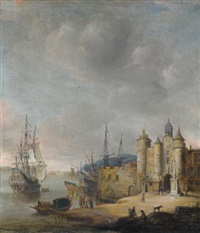 a harbour scene with a man-of-war and other shipping, figures conversing on the shore by jan abrahamsz beerstraten