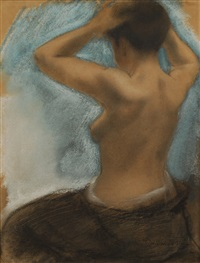 femme à torse nu vue de dos by armand rassenfosse