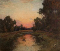 sunset in a california stream landscape by henry leopold richter
