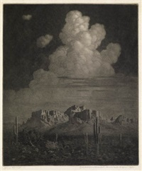 superstition mountain, apache trail, arizona, night by george elbert burr