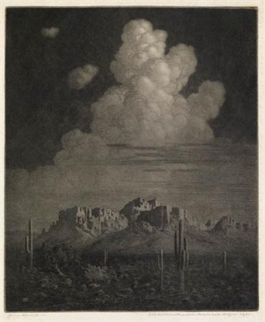 superstition mountain apache trail arizona night by george elbert burr