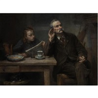 reading to grandfather by charles clement denet
