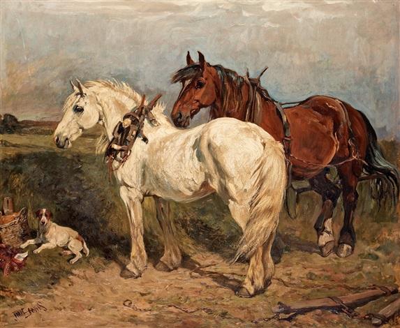två arbetshästar och en vilande hund by john emms