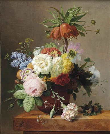 red fritillaries peonies convolvulus coleseed red hydrangeas lilacs carnations and other flowers in a terracotta together with violets by arnoldus bloemers