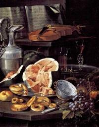 natura morta con spartito, violino, brocca con peltro, alzata con bicchieri, piatto con anguria e dolci, ciatola di porcellana cinese e uva by cristoforo munari