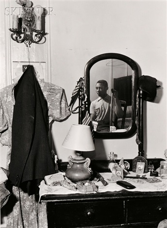 bedroom through doorway, man in chair, man in mirror and man with crutch (4 works) by aaron siskind