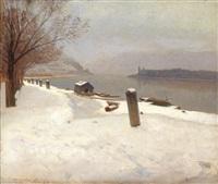 die donau zwischen dürnstein und weißenkirchen im winter by rudolf weber