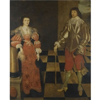 portrait of a gentlemen and his wife, called henry carey, 2nd earl of monmouth and his wife by gilbert jackson